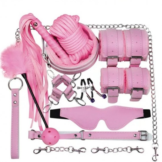Set BDSM, kit bondage, pink...