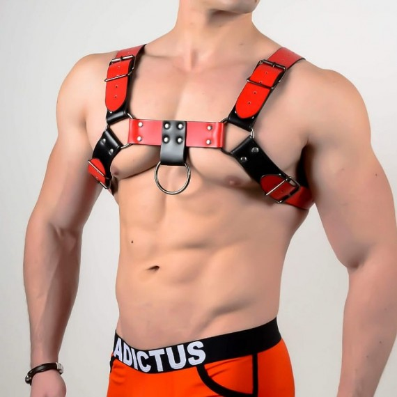 Man harness a013 black red